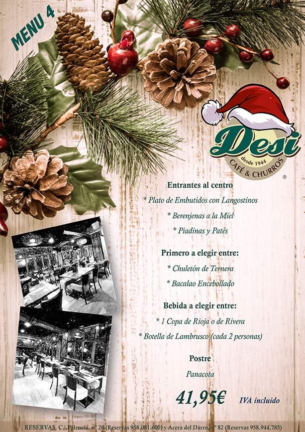 Menu 4 Comidas de Navidad en Granada